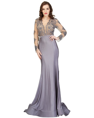 Cecilia Couture - 1405 Floral Lace Plunging V-Neck Mermaid Dress