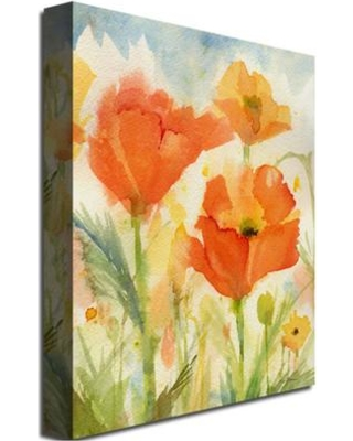 """Trademark Art """"Field of Poppies"""" by Sheila Golden Painting Print on Canvas SG0125-C Size: 24"""" H x 18"""" W x 2"""" D"""