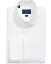 Men's Big & Tall David Donahue Trim Fit Solid French Cuff Dress Shirt, Size 18 - 34/35 - White