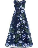 Strapless Floral-appliquéd Embroidered Tulle Gown Navy - Blue - Marchesa notte Dresses