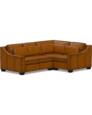 York Slope Arm Leather Deep Seat Left Arm 3-Piece Corner Sectional with Bench Cushion, Down Blend Wrapped Cushions, Burnished Bourbon