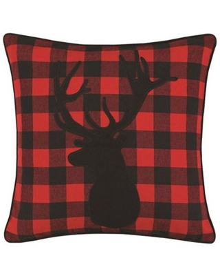 Eddie Bauer® Cabin Plaid Stag Head Square Throw Pillow in Red