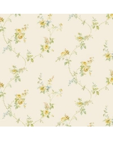 "August Grove® Drumheller Tiny Vine Roses Textured 32.7' L x 20.5"" W Wallpaper Roll, Vinyl in Yellow, Size 20""H X 392""W 
