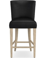 Trevor Counter Stool, Grey, Tuscan Leather, Black