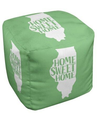 East Urban Home Home Sweet Illinois Cube Ottoman FCKD4322 Upholstery Color: Green