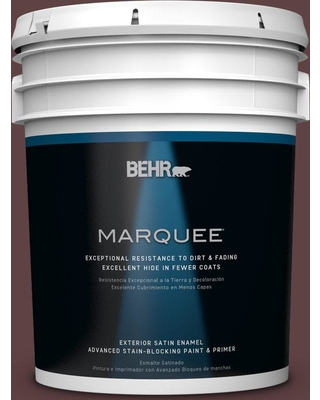 BEHR MARQUEE 5 gal. #S-G-700 Wild Raisin Satin Enamel Exterior Paint and Primer in One