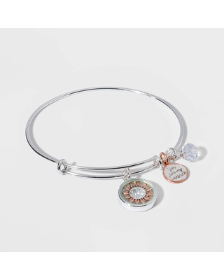 Silver Plated Adjustable Bangle with Flash Rose Flower Shaker Charm Bracelet - Silver Gray, Women's, Size: Small, Pink Silver