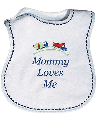 Raindrops Mommy Loves Me Embroidered Bib, Royal Blue