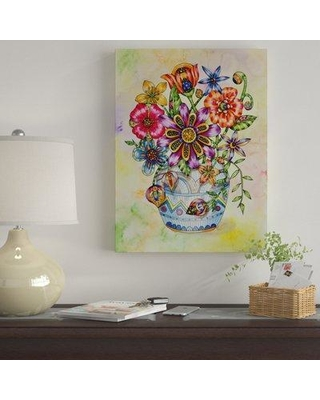 """Winston Porter 'Summer Blooms Blue Vase' Acrylic Painting Print on Wrapped Canvas WNST7017 Size: 24"""" H x 18"""" W x 2"""" D"""