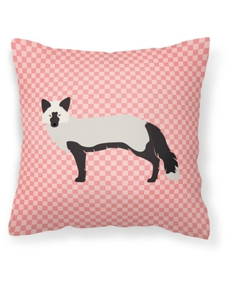Silver Fox Pink Check Fabric Decorative Pillow