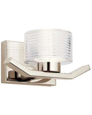 Kichler Lasus 10.25-in W 1-Light Polished Nickel Modern/Contemporary Wall Sconce | 44349PNLED