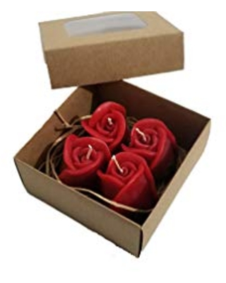 Rose Shape Candles in Craft Box with Natural Raffia, Free shipping