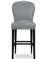 Maxwell Bar Stool w/Handle Tuscan Leather Solid Dove Polished Nickel