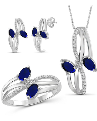 Diamond Accent Genuine Blue Sapphire Sterling Silver 3-pc. Jewelry Set, 6 , No Color Family
