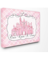 "Once Upon A Time Pink Water Color Castle Stretched Canvas Wall Art (16""x20""x1.5) - Stupell Industries"