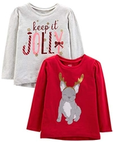 Simple Joys by Carter's Girls' 2-Pack Christmas Long-Sleeve Tees, Dog/Jolly, 3T