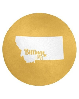 East Urban Home Billings Montana Poly Chenille Yellow Area Rug FCLS3503 Rug Size: Round 5'