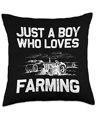 Best Tractor & Livestock Crop Husbandry Designs Funny Gift for Boys Kids Farmer Tractor Farming Crop Throw Pillow, 18x18, Multicolor
