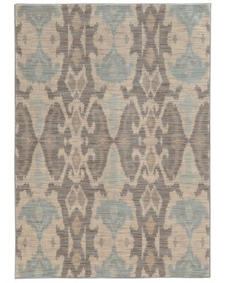 Eloisa Ikat Ivory/Blue/Brown Rug Solo Rugs Rug Size: Rectangle 10' x 13'