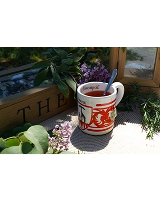 Italian Ceramic Coffee Mug With the typical decoration of the Contrade of Palio of Siena. Giraffe District.