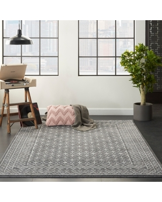 Nourison Nourison Palermo 4' x 6' Charcoal Gray and Silver Distressed Bohemian Area Rug, Charcoal/Silver