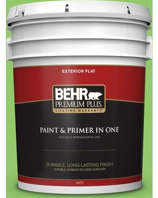 BEHR Premium Plus 5 gal. #430B-5 Apple Orchard Flat Exterior Paint and Primer in One