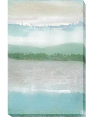 Artistic Home Gallery 'Equinox' by Caroline Gold Framed Painting Print Wrapped Canvas, Canvas & Fabric in Blue/Gray/Green | Wayfair 1624812CG