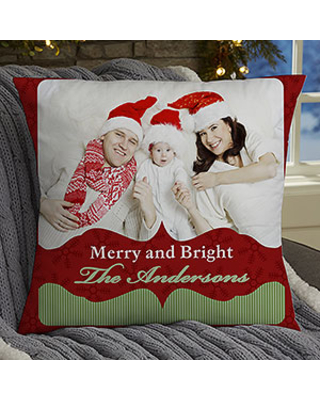 Personalized Christmas Photo Throw Pillow - Classic Holiday - 18