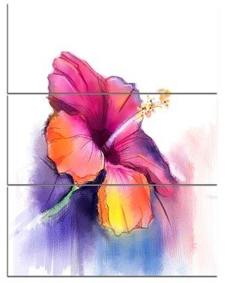 Design Art Red Yellow Hibiscus Flower in Blue - 3 Piece Painting Print on Wrapped Canvas Set PT10303-3PV