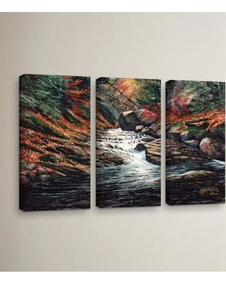 """Loon Peak Autumn Brook 3 Piece Painting Print on Wrapped Canvas Set LOON5427 Size: 24"""" H x 36"""" W x 2"""" D"""