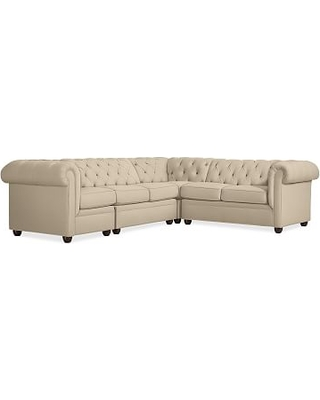 Chesterfield Upholstered Right Arm 4-Piece Corner Sectional, Polyester Wrapped Cushions, Performance Everydayvelvet(TM) Buckwheat