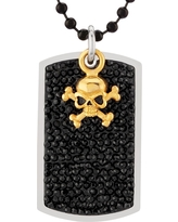 Men's Crucible Stainless Steel Black Crystal Dog Tag Pendant