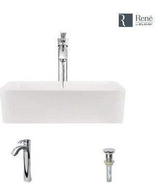 René Vitreous China Rectangular Vessel Bathroom Sink with Faucet and Overflow R2-5007-B-R9-7006- Faucet Finish: Chrome