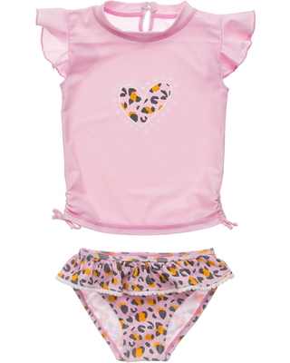 Infant Girl's Snapper Rock Leopard Love Ruffle Two-Piece Swimsuit, Size 3-6M - Pink