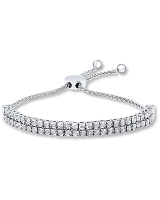 Diamond Bolo Bracelet 1/4 ct tw Round-cut Sterling Silver