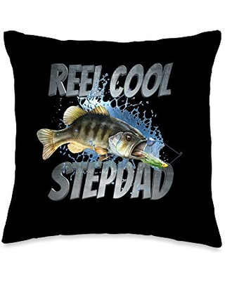 Gift Ideas For Fishing Stepdads Reel Cool Stepdad Fishing Gift Throw Pillow, 16x16, Multicolor