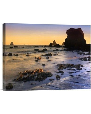"East Urban Home 'Lone Beach at Sunset' Photographic Print on Canvas URBH8099 Size: 12"" H x 16"" W x 1.5"" D"