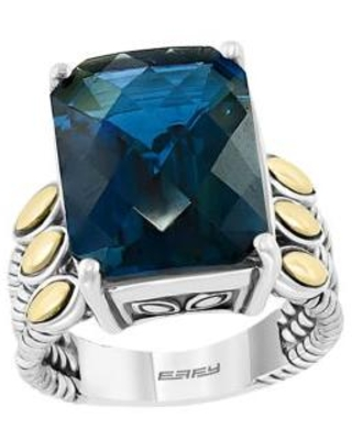 Effy Silver/Gold 11.3 ct. t.w. London Blue Topaz Ring in Sterling Silver over 18k Yellow Gold