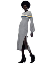 Jonny Cota Studio Mountain Midi Sweater Dress – Bodycon Long Sleeve Knitted Dress – 100% Cotton Casual Women's Dress with Puff Sleeves and Zipper Side Slit, Grey, M