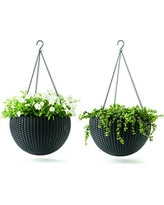 Keter Dia 13.8 in. Round Plastic Resin Garden Plant Hanging Planters Decor Pots 2 pc, Brown