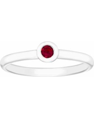 14k White Gold Birthstone Stack Ring, Women's, Size: 8.50, Red