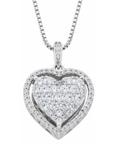 """Diamond Splendor Sterling Silver Crystal & Diamond Accent Heart Pendant Necklace, Women's, Size: 18"", White"""