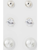 Stud Earring Set 3ct - A New Day Silver/White