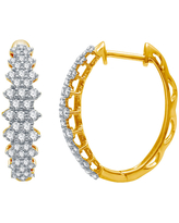 Ever Star 1 CT. T.W. Lab Grown White Diamond 10K Gold 22mm Round Hoop Earrings, One Size , No Color Family
