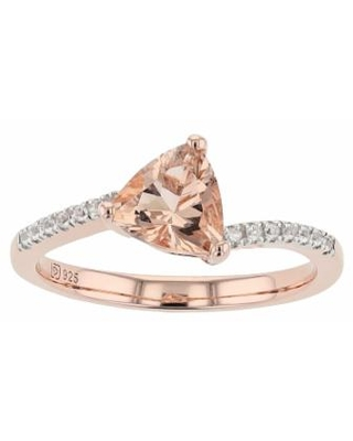 14k Gold Over Silver Simulated Morganite & Lab-Created White Sapphire Ring, Women's, Size: 7, Pink
