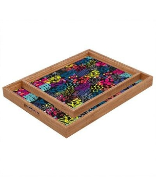 """East Urban Home Arc Textures Serving Tray, Wood in Rose Gold/Pink/Yellow, Size 1.25"""" H x 12"""" W x 12"""" D   Wayfair EHME8833 33820269"""