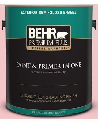 BEHR PREMIUM PLUS 1 gal. #140C-2 My Fair Lady Semi-Gloss Enamel Exterior Paint and Primer in One
