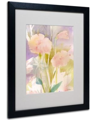 """Trademark Art """"Pink Dragonfly Shadows"""" by Sheila Golden Framed Painting Print SG5646- Frame: Black Size: 20"""" H x 16"""" W x 0.5"""" D"""