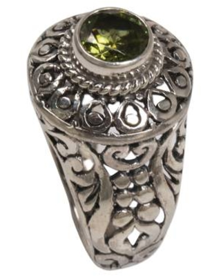 Sterling Silver and Peridot Cocktail Ring from Indonesia
