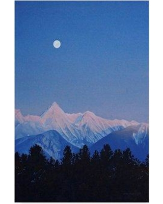 """Trademark Art 'Alpenglow Moon' Graphic Art Print on Wrapped Canvas ALI32740-CGG Size: 47"""" H x 30"""" W x 2"""" D"""